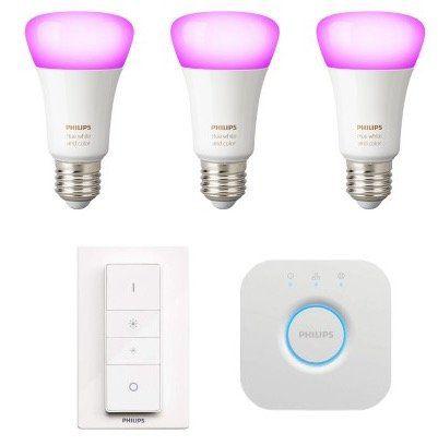 3er Pack Philips Hue White & Color Ambiance E27 Bluetooth Lampen + Dimmschalter + Bridge für 114,95€(statt 149€)