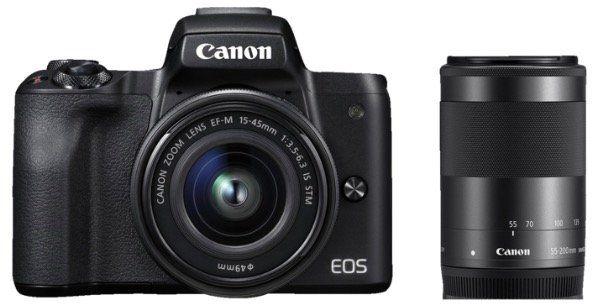 CANON EOS M50 Systemkamera 24.1 MP als Kit mit 15 45mm und 55 200mm für 699€ (statt 829€)