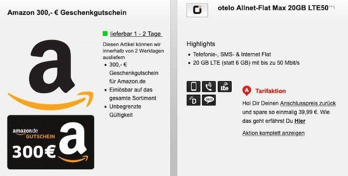 🔥 Otelo Allnet Flat im Vodafone Netz mit 20GB LTE50 für 31,98€ mtl. + 300€ Amazon Gutschein