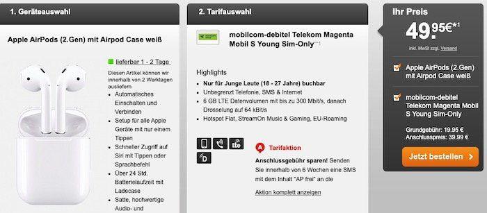 Young: AirPods 2 für 49,95€ + Telekom Flat mit 6GB LTE inkl. StreamOn für 19,95€mtl.