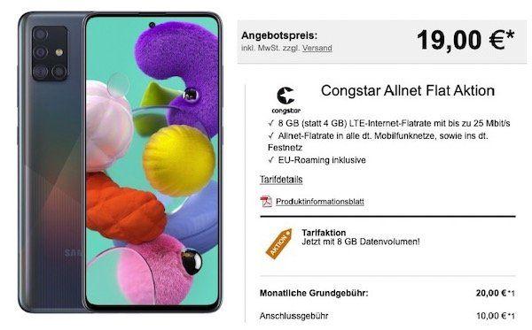Samsung Galaxy A51 für 19€ + Telekom Flat mit 8GB LTE für 20€ mtl.