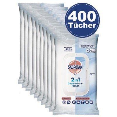 Vorbei! Megapack Sagrotan 2in1 Desinfektions Tücher mit 400 Tüchern für 14,99€ (statt ~30€)   MHD 30.03.