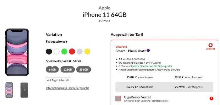 Apple iPhone 11 mit 64GB für 29,99€ + Vodafone Allnet Flat mit 13GB LTE für 36,99€ mtl.