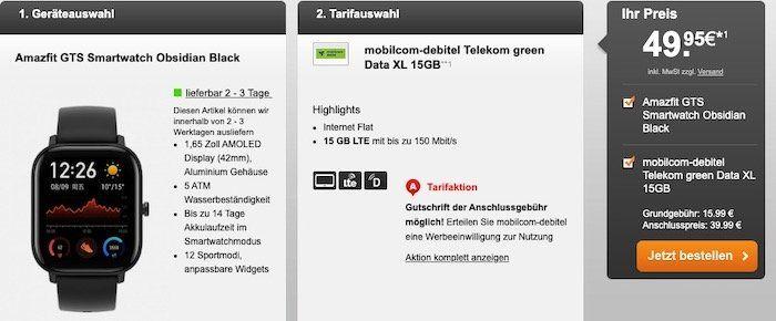 Telekom Datentarif mit 15GB LTE für 15,99€ mtl. + Amazfit GTS Smartwatch für 49,95€