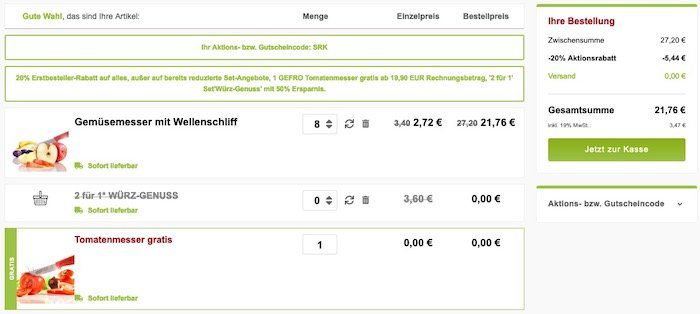 8 Gemüsemesser + 1 Tomatenmesser von Victorinox + Gewürze für 21,76€ (Neukunden)