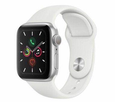 Apple Watch Series 5 in 40mm mit weißem Sportarmband für 332,91€ (statt 365€)