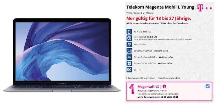 Young + MagentaEins: Apple MacBook Air 13 für 4,95€ + Telekom Flat mit 48GB LTE (!) für 49,95€mtl.