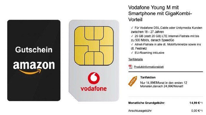 Young + GigaKombi: Vodafone Flat mit 25GB LTE für 19,99€ mtl. + 365€ Amazon Gutschein