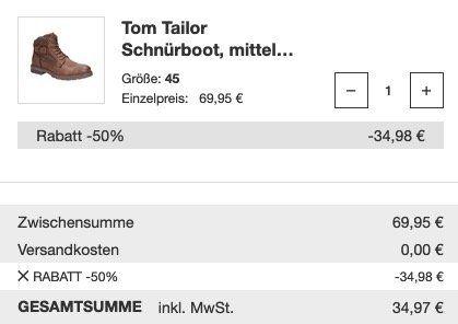Reno Winterschuhe und Stiefel Sale + 50% Extra Rabatt   z.B. Tom Tailor Schnürboot nur 34,97€