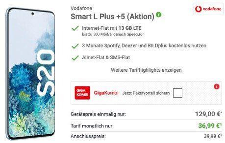 Samsung Galaxy S20 für 129€ + Vodafone Flat mit 13GB LTE für 36,99€ mtl.