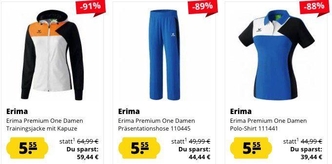Erima Fixpreis Sale   ALLES für 5,55€ + VSK   z.B. Erima Essential 5 Cubes Casic Poloshirt (statt 17€)