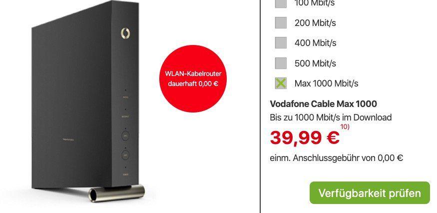 Vodafone CableMax Gigabit dank 280€ Cashback für nur eff. 28,32€ mtl.