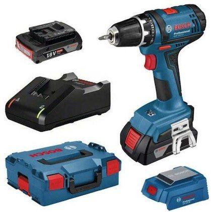 Bosch GSR 18-2-LI Akku-Bohrschrauber + 2 x 2Ah Akkus, L-BOXX + Schnellladegerät für 125,95€ (statt 169€)