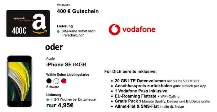 Vodafone Young M Allnet 20GB LTE für 29,99€ mtl. + 400€ Amazon oder Apple iPhone SE 2020