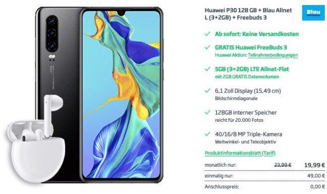 Huawei P30 128GB + FreeBuds 3 für 49€ (statt 529€) + Blau.de o2 Allnet Flat mit 5GB LTE für 19,99€ mtl.