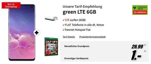 🔥 Galaxy S10 + Xbox One X 1TB + GTA5 nur 1€ + Vodafone Flat mit 6GB LTE50 für 26,99€ mtl.