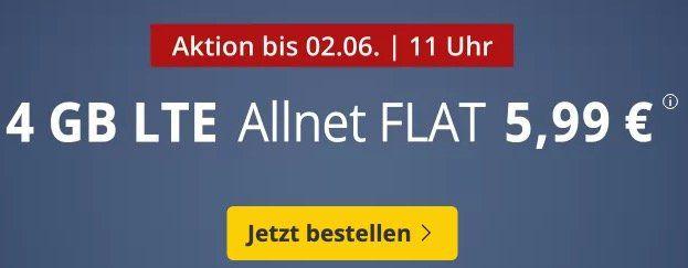 o2 Allnet Flat mit 4GB LTE für nur 5,99€mtl. + monatlich kündbar