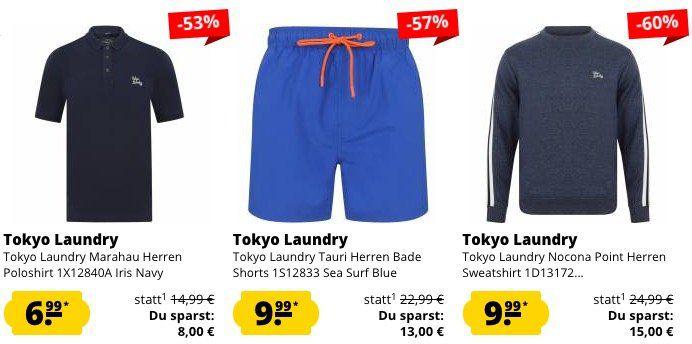 Tokyo Laundry Sale bei SportSpar + 5€ Gutschein ab 50€   z.B. Herren Poloshirt ab 6,99€