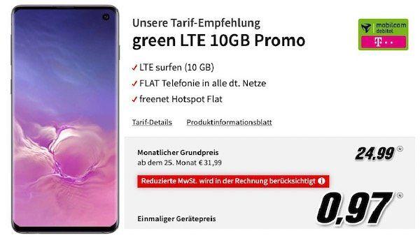 Samsung Galaxy S10 für 0,97€ + Telekom Flat mit 10GB LTE für 24,99€ mtl.