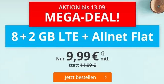 o2 Flat mit 10GB LTE für 9,99€mtl. + nur 3 Monate Laufzeit