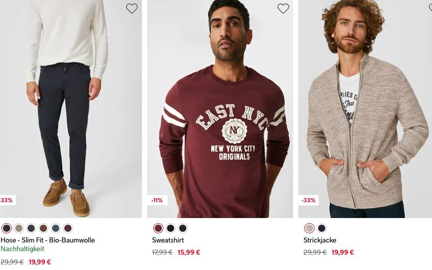 🔥 C&A Sale bis zu 70% Rabatt + 20% Gutschein + keine VSK ab 39€   z.B. Herren Badeshorts für 4,79€