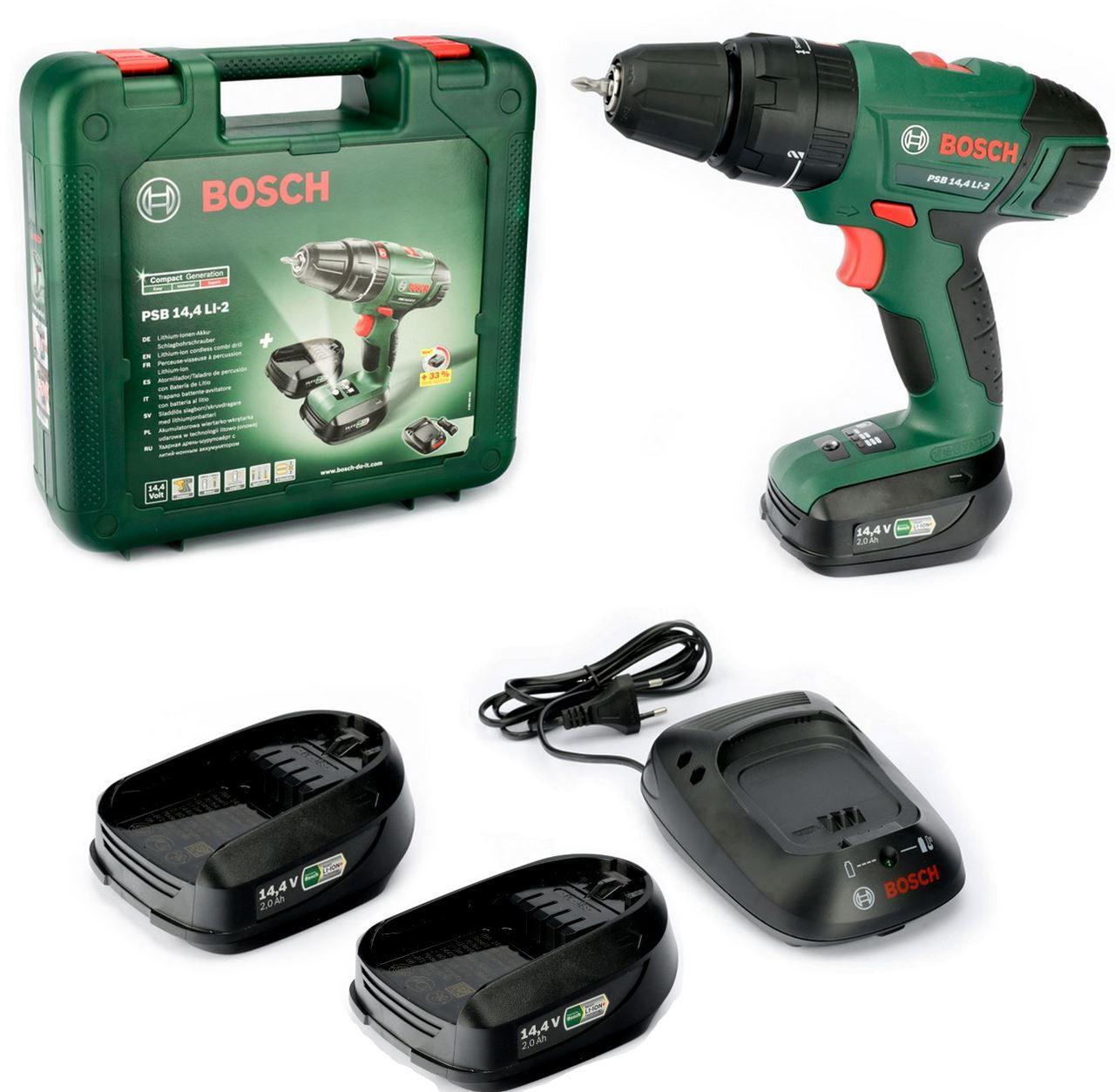 Bosch PSB 14,4 LI 2 Schlagbohrmaschine mit 2 Akkus 1,5 Ah + 1 x 2Ah Akku für 111€ (statt 155€)