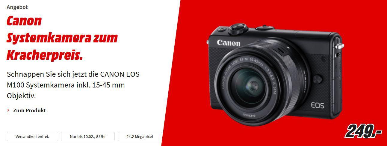 Canon EOS M100 mit 15 45mm Objectiv für 249€ (statt 315€)