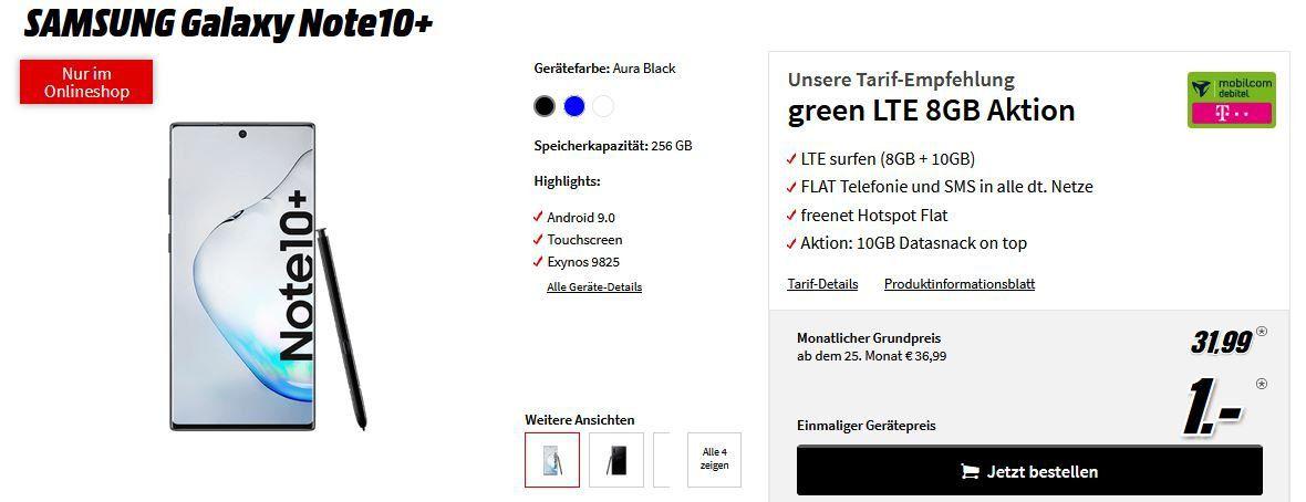 Samsung Galaxy Note 10 Plus für 1€ + 18GB LTE Telekom Magenta Mobil für 31,99€mtl.