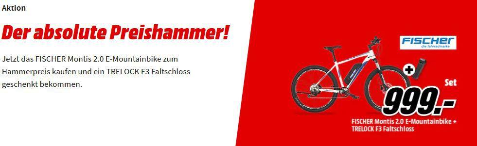 Fischer Montis 2.0 Mountain eBike 27,5 Zoll für 999,99€ (statt 1.134€) + gratis  Trelock F3 Faltschloss