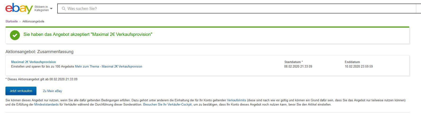 eBay Verkaufsaktion: Max. 2€ Verkaufsprovision vom 8. bis 10.2.   max 100 Artikel
