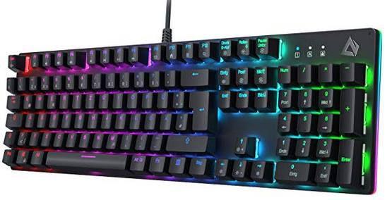 AUKEY KM G12   mechanische Gaming Tastatur mit LED Beleuchtung, 105 Tasten & Anti Ghosting für 49,99€ (statt 65€)