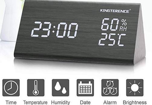 LED Wecker in Holzoptik mit Akku & vielen Funktionen für 16,13€ (statt 22€)
