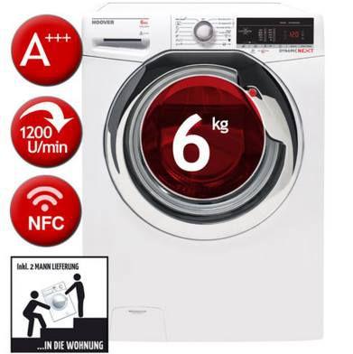 HOOVER DXOA34 26C3/2 S   Waschmaschine (A+++, 6kg & App Anbindung) für 267,29€ (statt 376€)