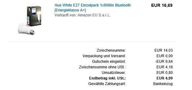 Phillips Hue White E27 ab 4,99€ (statt 15€) Prime