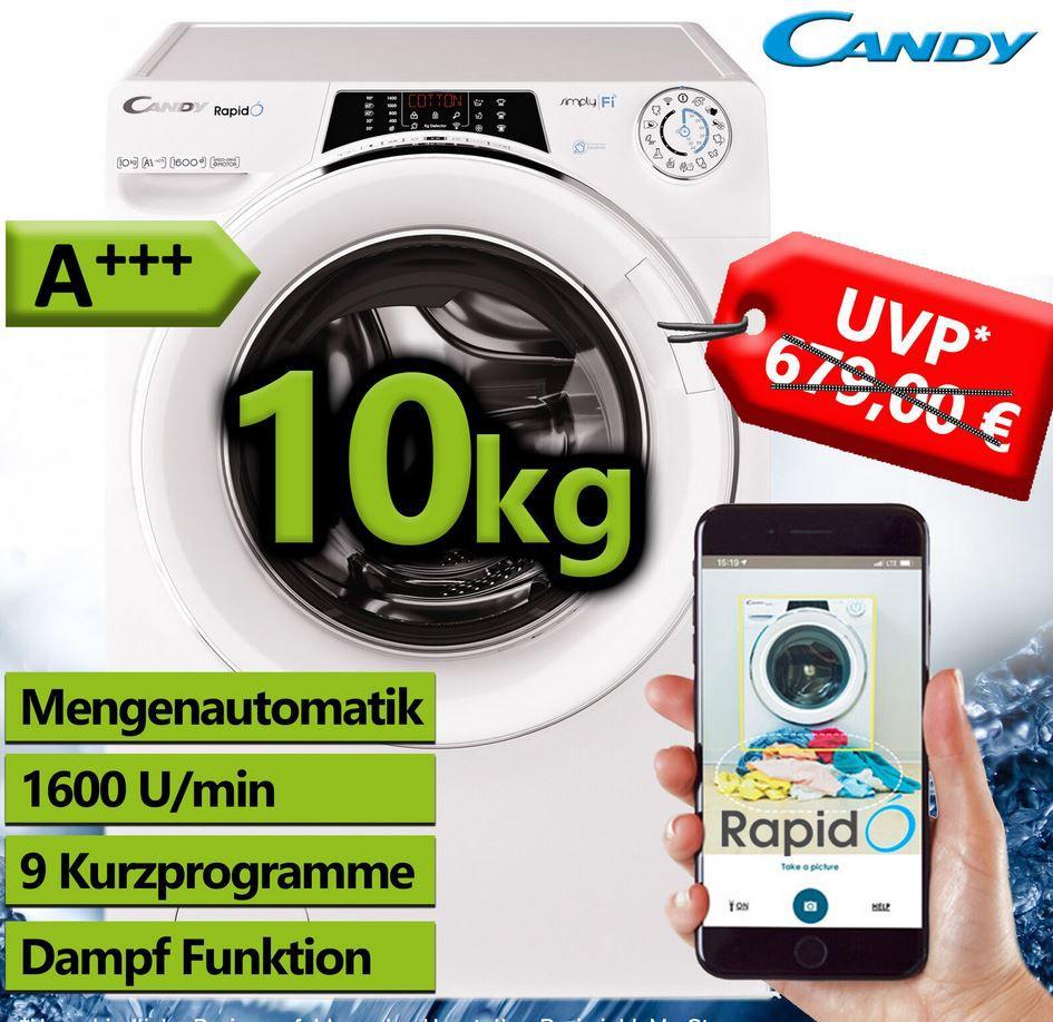 Candy RO 16106DWHC7/1 S   WiFi Waschmaschine 10Kg max. 1.600 U/min. Steam A+++ für 309,90€ (statt 469€)