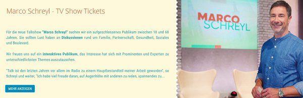 Freikarten für die neue TV Show Marco Schreyl in Hürth