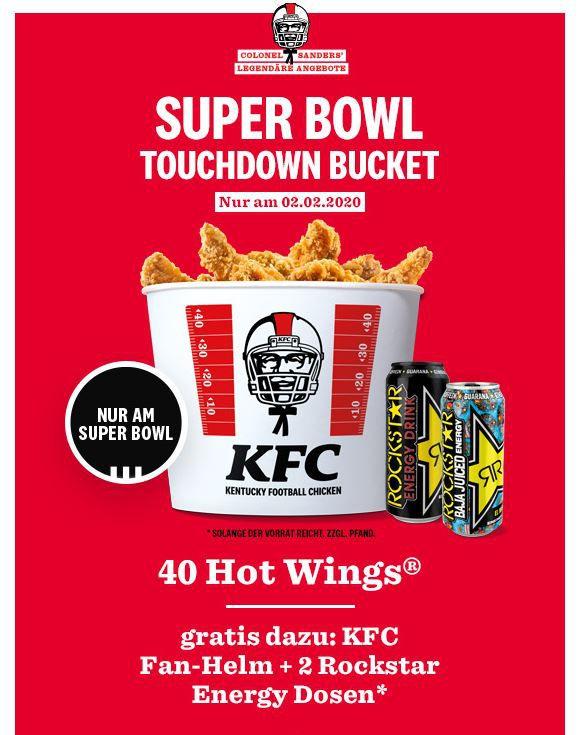 Heute: KFC Touchdown Bucket mit 40 Hot Wings + 2 Dosen Rockstar Energy + KFC Fan Helm für 24,99€ (statt 34€)