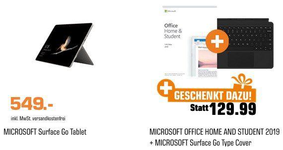 Saturn Geschenke für Alle Aktion   z.B. Surface Go Tablet 128GB + Type Cover + Office 2019 für 549€ (statt 747€)