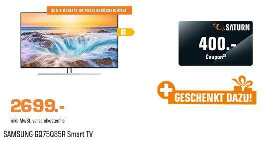 Samsung QLED 75 Zoll 4K UltraHD Smart Fernseher für 2.699€ (statt 2.870€) + noch 400€ Saturn Gutschein