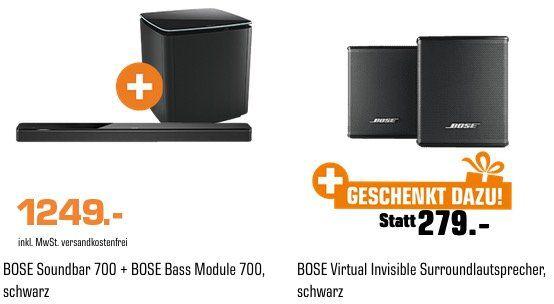Bose Soundbar 700 inkl. Bass Module und 2x Virtual Invisible Surroundlautsprechern für 1.249€ (statt 1.502€)