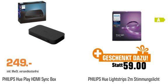 Philips Hue Play HDMI SyncBox + Hue LED Streifen Weiß in 2 Meter für 249€ (statt 303€)
