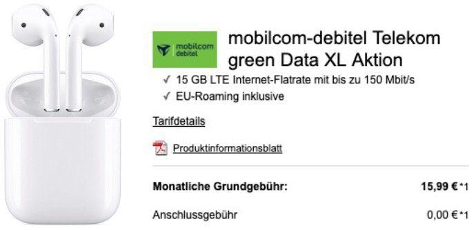 Telekom Daten Flat mit 15GB LTE150 für 15,99€ mtl.   dazu z.B. Apple Airpods 2 für 49€