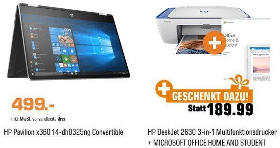 HP Pavilion x360 Convertible mit 8GB und 512GB SSD inkl. DeskJet 2630 und Office 2019 für 499€ (statt 551€)