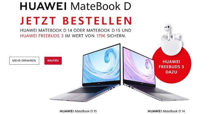Huawei MateBook D kaufen & FreeBuds 3 (Wert 137€) gratis   z.B. Modell D 14 mit Freebuds 3 für 699€ (statt 836€)