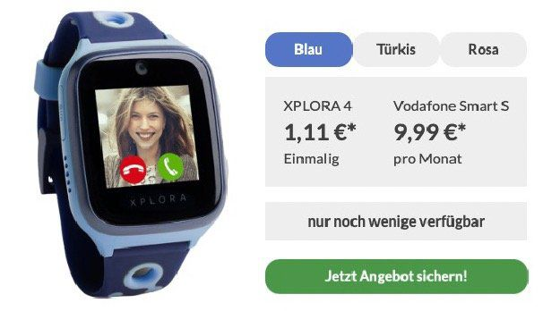 Abgelaufen! Kinder Smartwatch Xplora 4 für 1,11€ mit Vodafone Smart S mit 250MB LTE, 50 Minuten und 200 SMS für 9,99€ mtl.