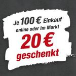 toom Baumarkt: 20€ Gutschein geschenkt je 100€ Warenwert-Einkauf