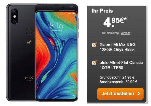Xiaomi Mi Mix 3 5G für 4,95€ + Vodafone Flat mit 10GB LTE für 21,98€ mtl.