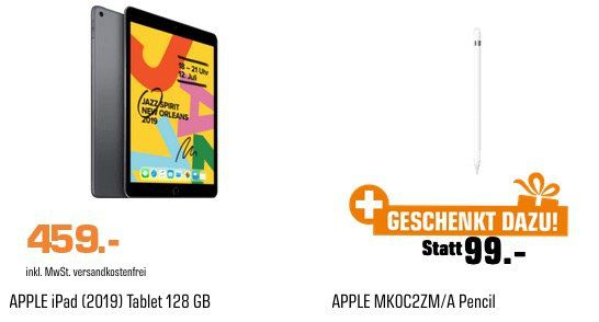 Apple iPad (2019) 10.2 128GB Wifi + Apple Pencil inkl. 1 Jahr AppleTV+ für 459€ (statt 499€)