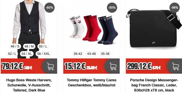 Top12: Business Sale + 12% Extra Rabatt   z.B. Hugo Boss Weste Harvers für 69,93€ (statt 113€)