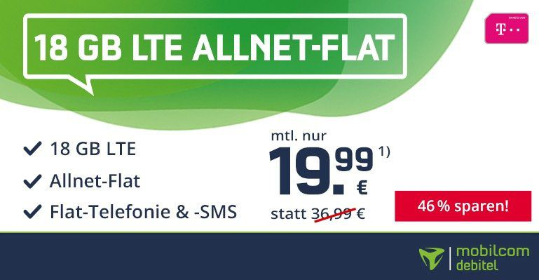 Endet heute! Telekom Flat mit 18GB LTE für nur 19,99€mtl. (statt 37€)   4 Monate Deezer + eSIM + VoLTE möglich!